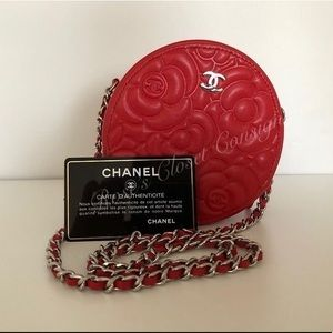 Chanel Camellia lambskin circle clutch on chain